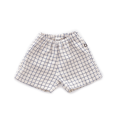 LINEN SHORTS_BEIGE/BLUE CHECKS