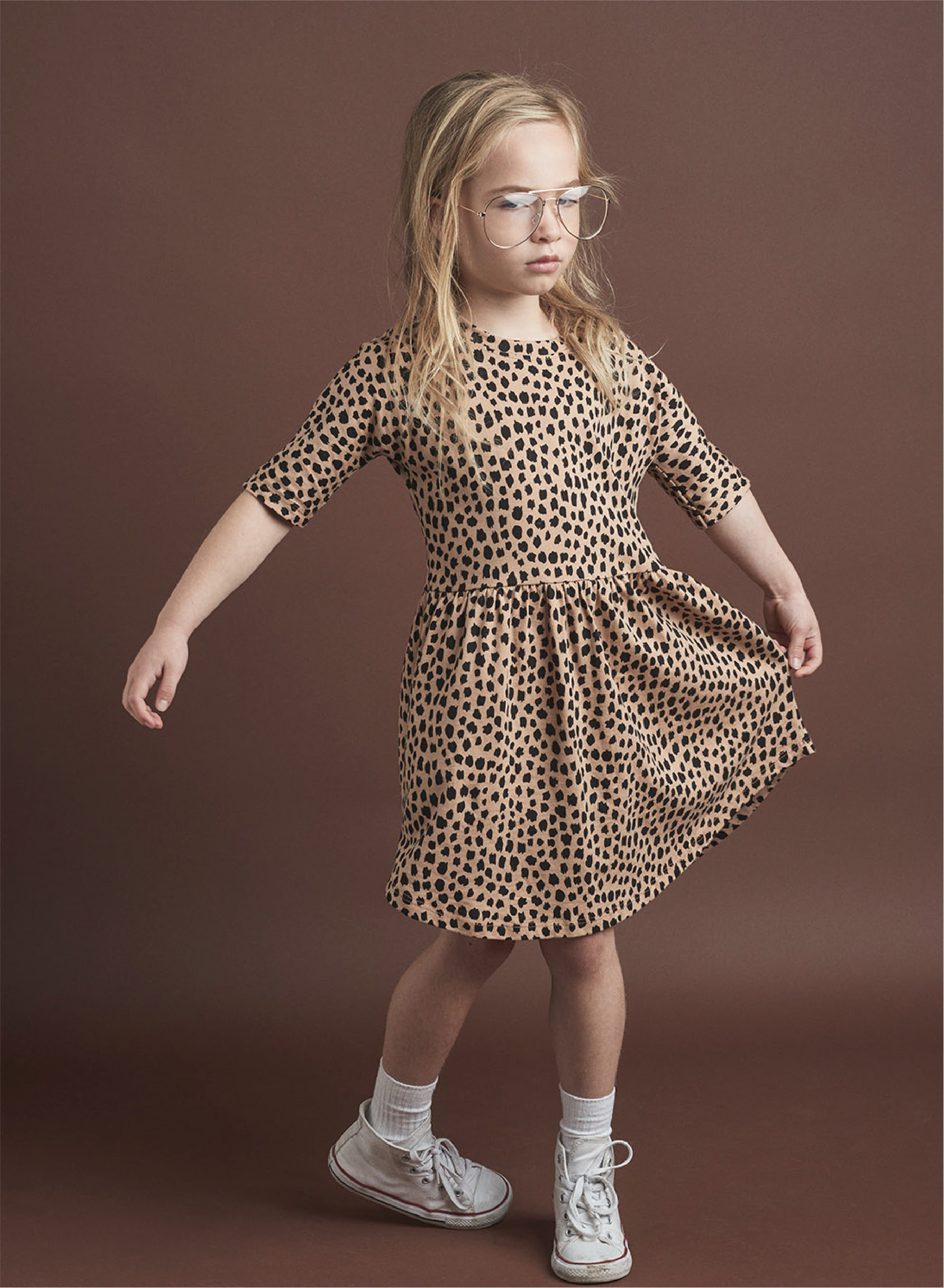 헉스베이비1차  LEOPARD SWIRL DRESS_CARAMEL
