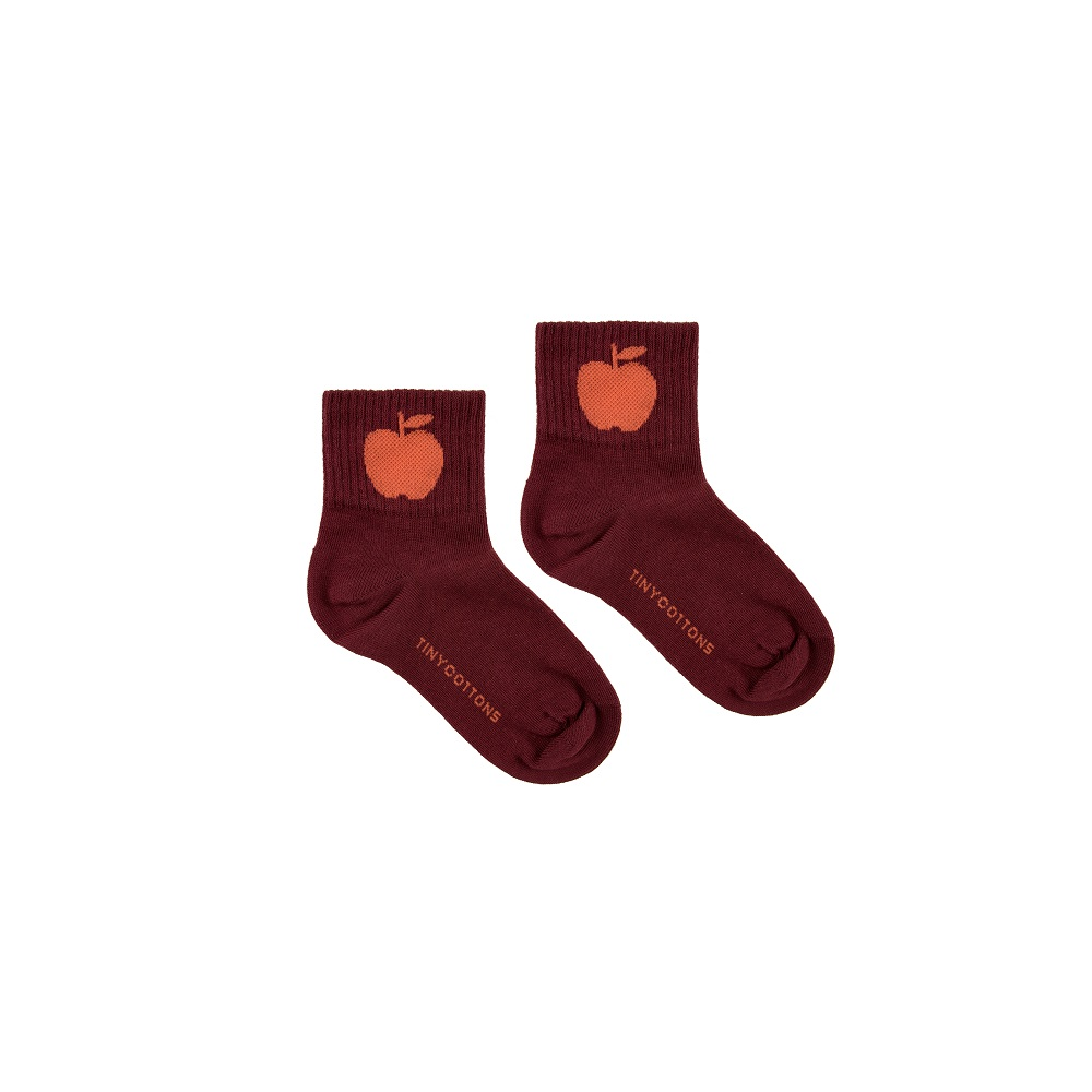 타이니코튼 APPLE MEDIUM  SOCKS_AUBERGINE/RED