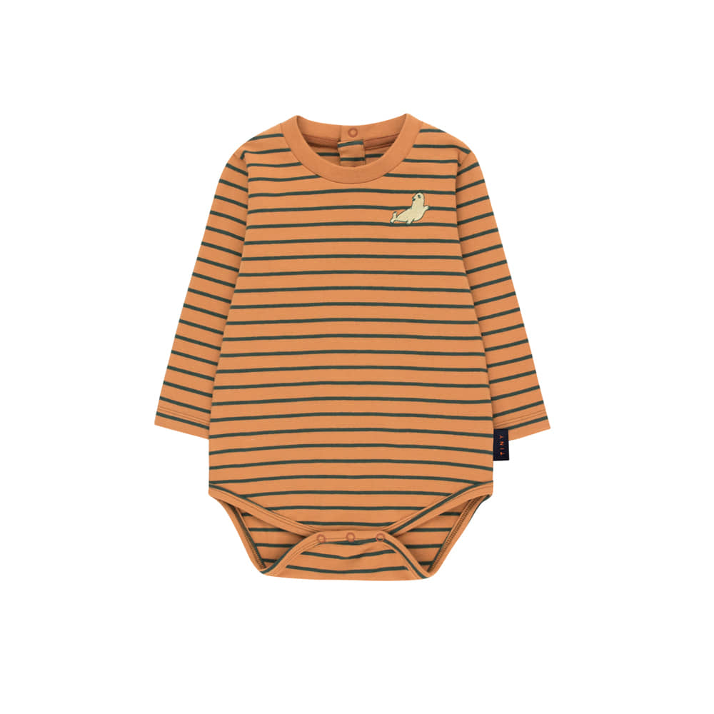 타이니코튼 STRIPES LS BODY_BROWN/BOTTLE GREEN