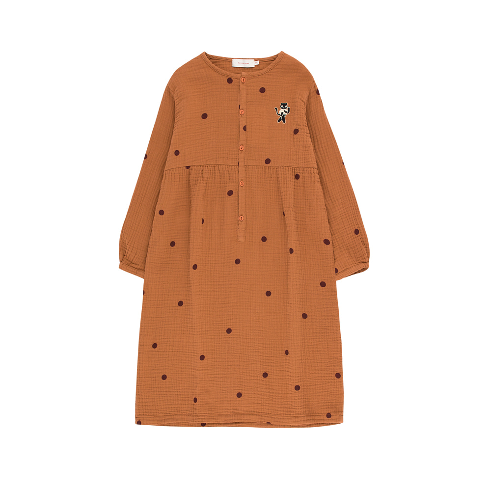 "타이니코튼 DOTS ""CAT"" DRESS_BROWN/AUBERGINE"