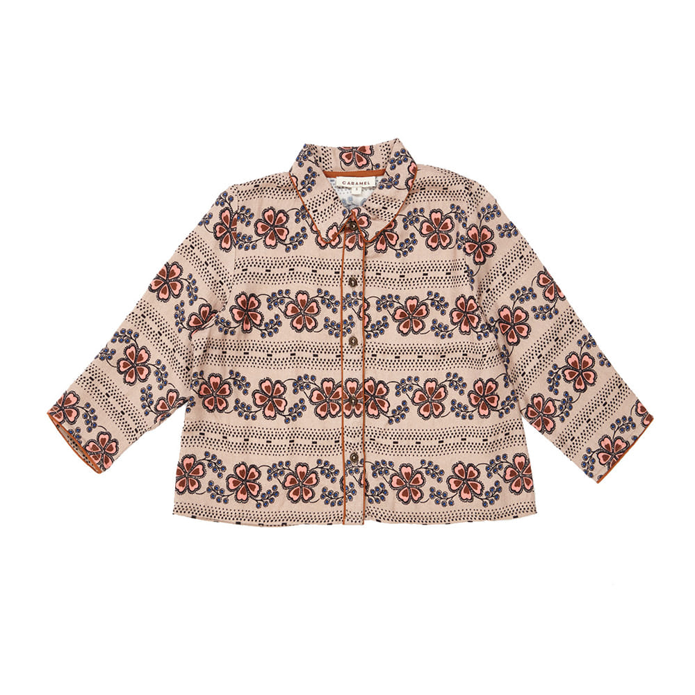 카라멜 PHANES SHIRT_POLKA FLOWER PRINT DOVE