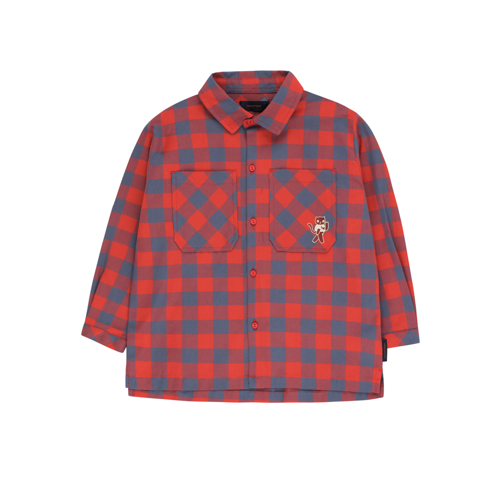 "타이니코튼 SMALL CHECK ""CAT"" SHIRT_BURGUNDY/DARK LILAC"
