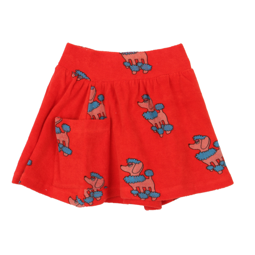 TERRY POCKET SKIRT_RED POODLE