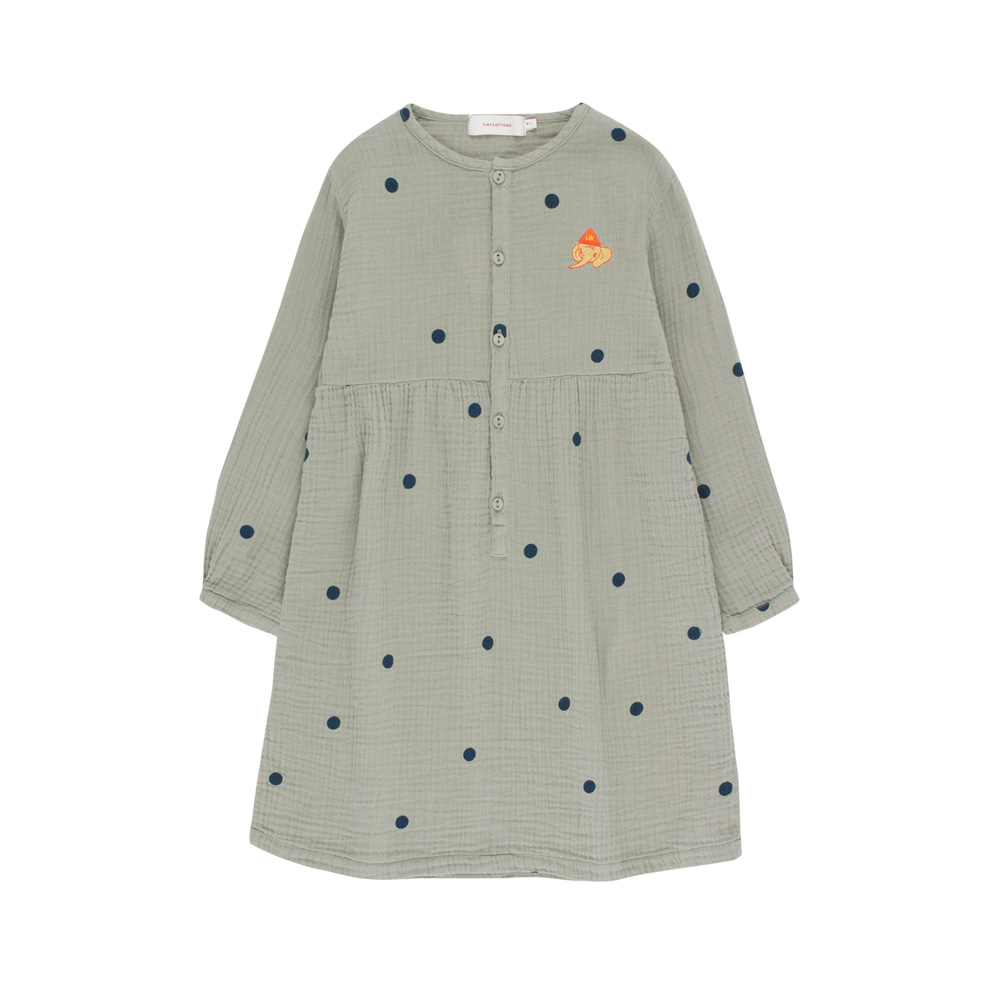 "타이니코튼 DOTS ""LUCKYPHANT"" DRESS_GREY/ BOTTLE GREEN"