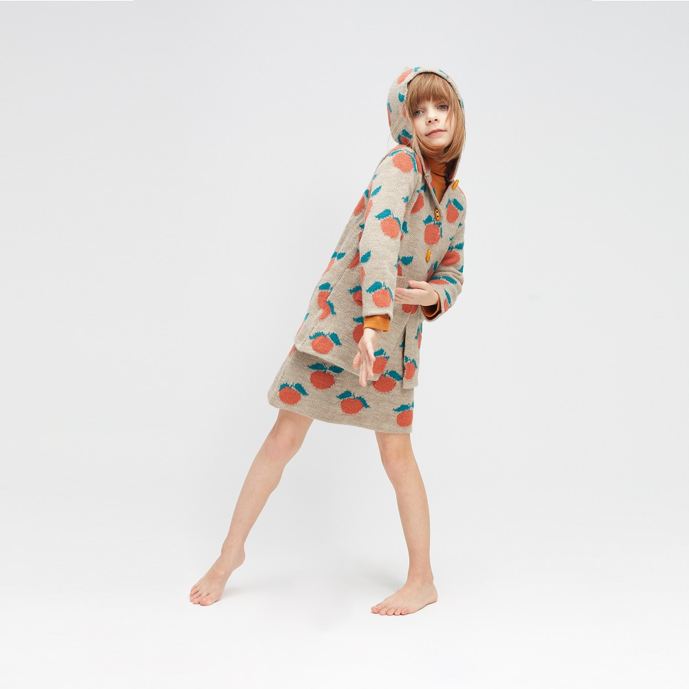 우프 CLEMENTINE TOGGLE BUTTON COAT_GREY/APRICOT