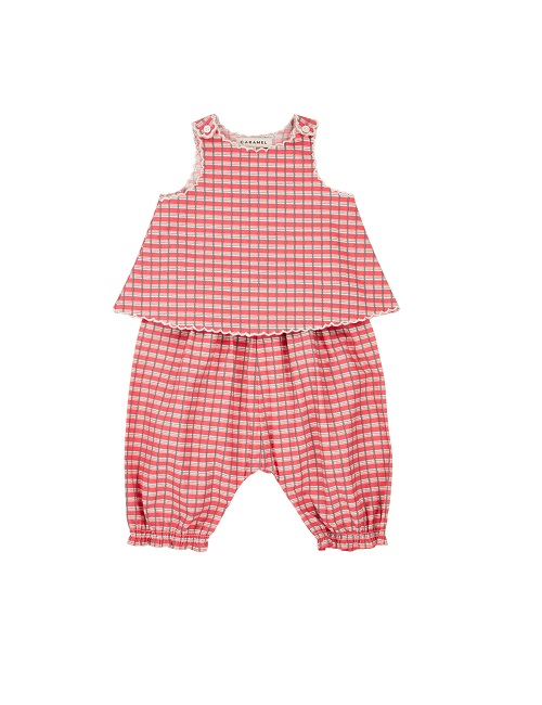 카라멜 Green Park Baby Set_Red Painted Check