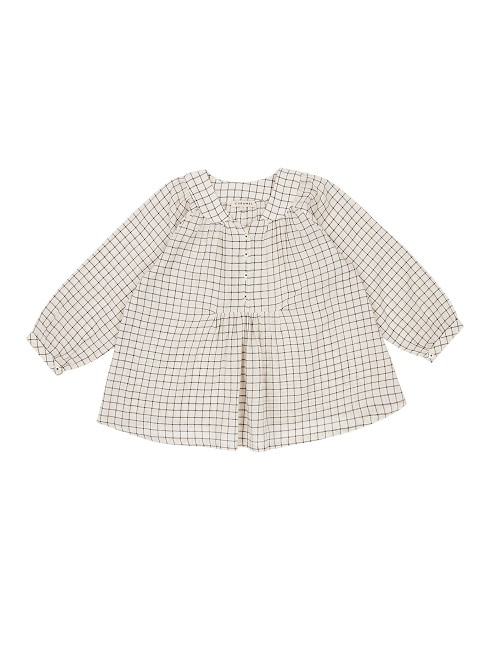 카라멜 Victoria Blouse_Black & Cream Grid
