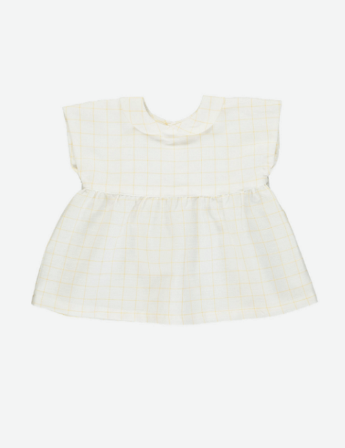 올리비에 Thea Top_Mustard Check Linen