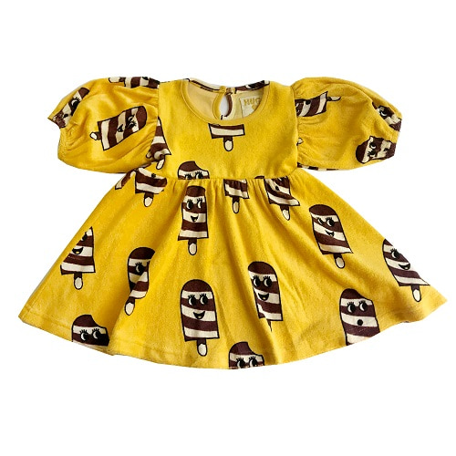 휴고러브스티키 TERRY PUFF SLEEVE DRESS - ICE CREAM YELLOW