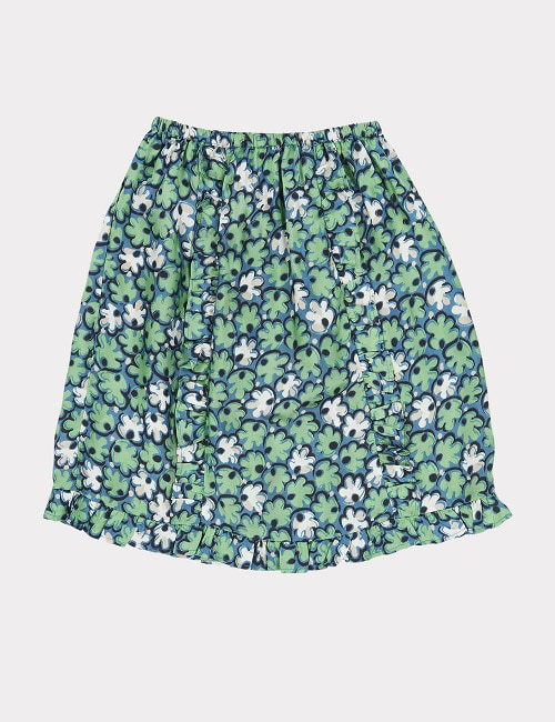 카라멜 STORK SKIRT-GREEN LEAF PRINT