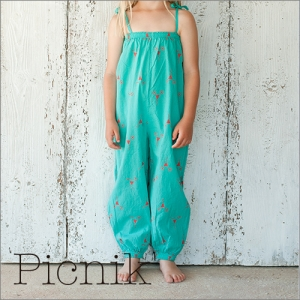 [Picnik] Baby Long Jumpsuit Girl - Turquoise[A-10]