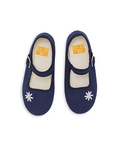 봉통 BABY  SLIPPERS  WITH BUCKLE AND  EMBROIDED  DAISY [Z-13]