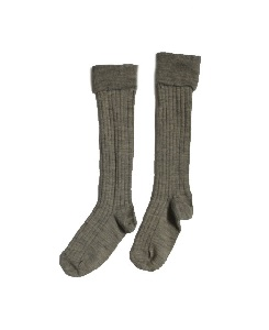 카라멜 RIB KNEE SOCKS_SOFT GREY