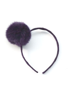 LARGE POMPOM ALICE BAND_SHADOW PURPLE
