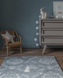 Rabbit blue rug