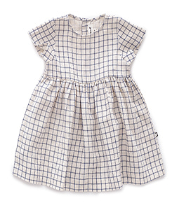SS DRESS_BEIGE/BLUE CHECKS