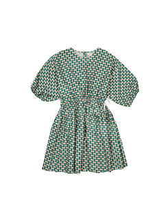 CYCLAMEN DRESS EMERALD GEO PRINT