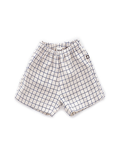 우프 LINEN SHORTS_BEIGE/BLUE CHECKS