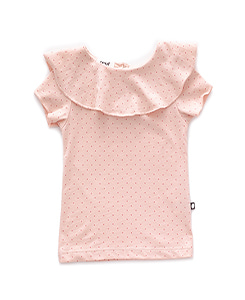 RUFFLE COLLAR TEE_LIGHT PINK/RUST DOTS
