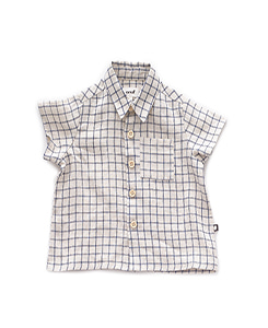 우프 BUTTON DOWN SHIRT_BEIGE/BLUE CHECKS