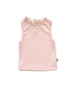 SLEEVELESS TOP_LIGHT PINK/RUST DOTS