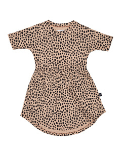 LEOPARD SWIRL DRESS_CARAMEL