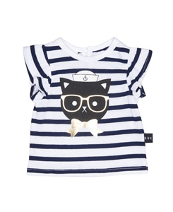 SAILOR CAT FRILL TOP_NAVY WHITE YDS