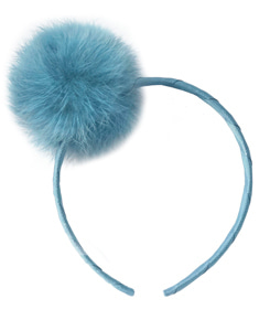Large PpmPom Alice Band_Antique Blue