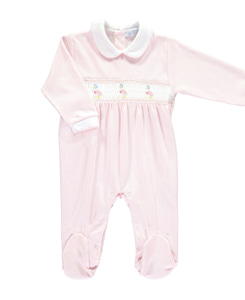 Jemima PuddleDuck Smocked Footsie_Pink/white