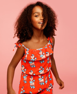 TERRY RUFFLE PLAY SUIT_RED POODLE