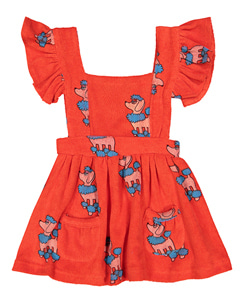 TERRY RUFFLE PLAY DRESS_RED POODLE