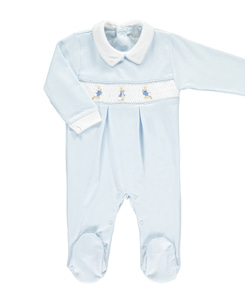 Peter Rabbit smocked Footsie_Blue