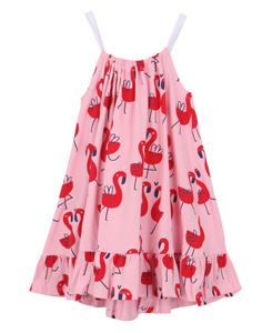 BOW DRESS_PINK FLAMINGS