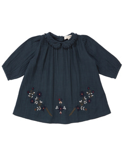 카라멜 PHOEBE EMBROIDERED BABY DRESS_ DARK SLATE