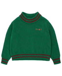 타이니코튼 LINES CROP SWEATER_DEEP GREEN/AUBERGINE
