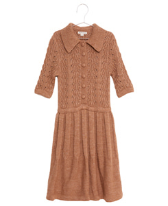 피쉬앤키즈 SHELLS KNITTED DRESS_CAMEL