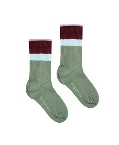 타이니코튼 STRIPES MEDIUM RIB SOCKS_GREEN WOOD/AUBERGINE