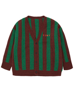 타이니코튼 STRIPES CARDIGAN_AUBERGINE/DEEP GREEN