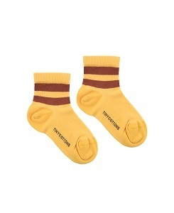 타이니코튼 STRIPES QUARTER  RIB SOCKS_YELLOW/DARK BROWN