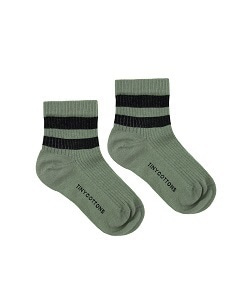타이니코튼 STRIPES QUARTER  RIB SOCKS_GREEN WOOD/BLACK