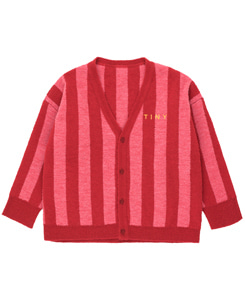 타이니코튼 STRIPES CARDIGAN_BURGUNDY/BUBBLE GUM