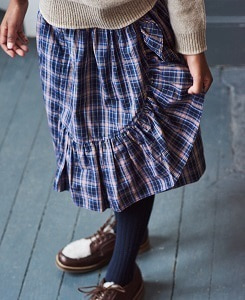 카라멜 COMANA SKIRT_NAVY CHECK