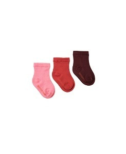 타이니코튼 PACK OF 3 MEDIUM RIB SOCKS_	AUBERGINE/BURGUNDY/BUBBLE GUM