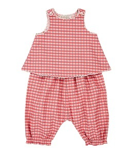 카라멜 GREEN PARK BABY SET_RED P. CHECK