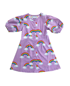 로미러브스루루 PUFF SLEEVE DRESS_RAINBOW PURPLE