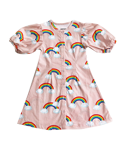 로미러브스루루 PUFF SLEEVE DRESS_RAINBOW PINK