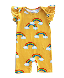 로미러브스루루 RUFFLE SHORT ROMPER_RAINBOW YELLOW