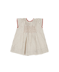 카라멜 Clapham Baby Dress_Black & Cream Grid