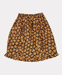 카라멜 STORK SKIRT-BLACK LEAF PRINT
